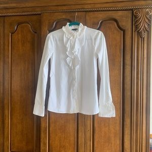 Theory White Ruffle collar button down top shirt